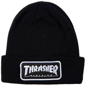 Thrasher-Logo-Patch-Beanie-Black